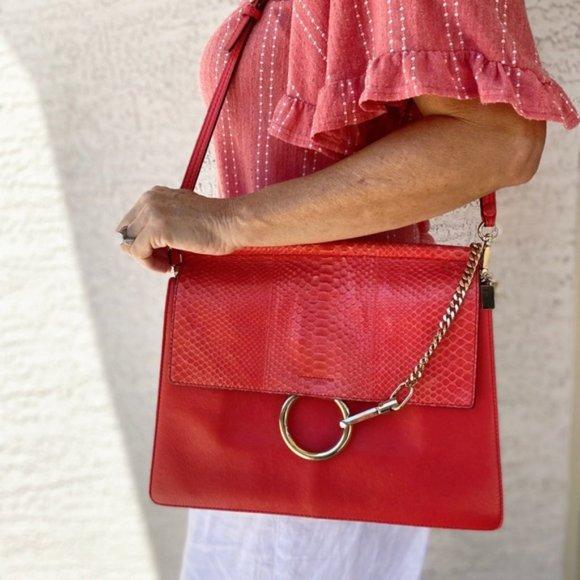 Chloe Handbags - Chloe Medium Faye Python Crossbody Bag